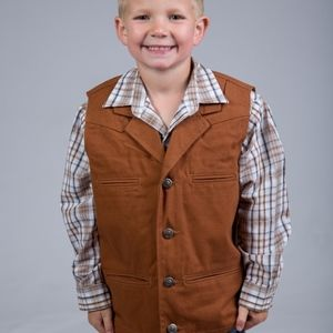 WYOMING TRADERS YOUTH BRONCO CANVAS WESTERN VEST